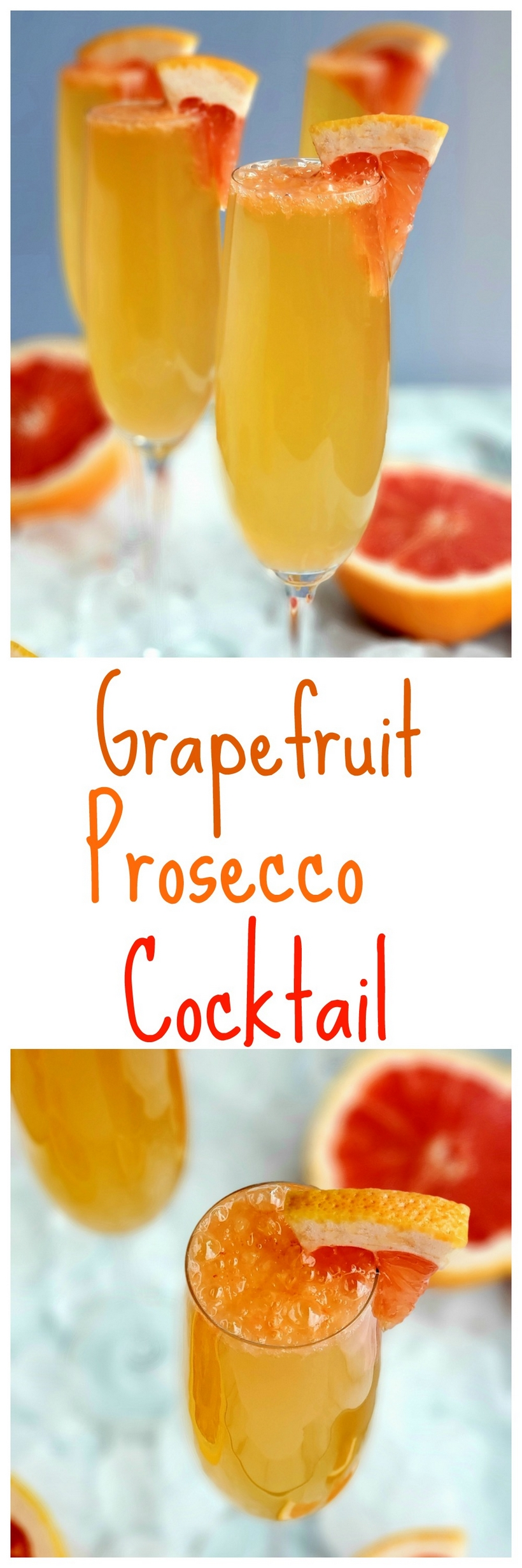 Serve these Grapefruit Prosecco Cocktails for brunch or on the patio for a perfectly crowd-pleasing sipping experience. #proseccococktail #grapefruit #brunchcocktail via @cmpollak1