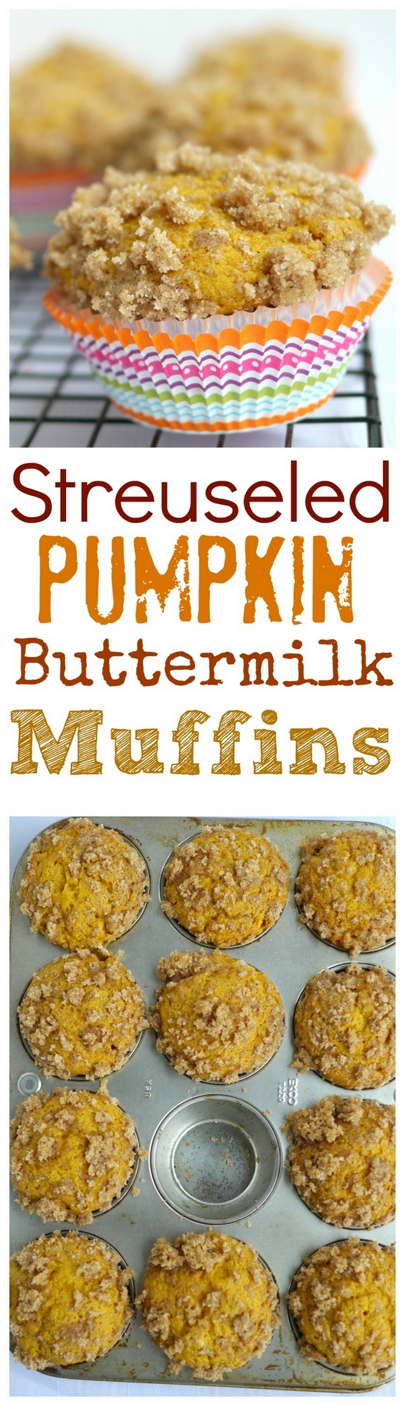 These Streuseled Pumpkin Buttermilk Muffins are the perfect answer to a Fall season breakfast. Tangy, moist and with big hunks of crunchy streusel, I can't think of a better way to enjoy my morning cup of coffee. #pumpkinmuffins via @cmpollak1