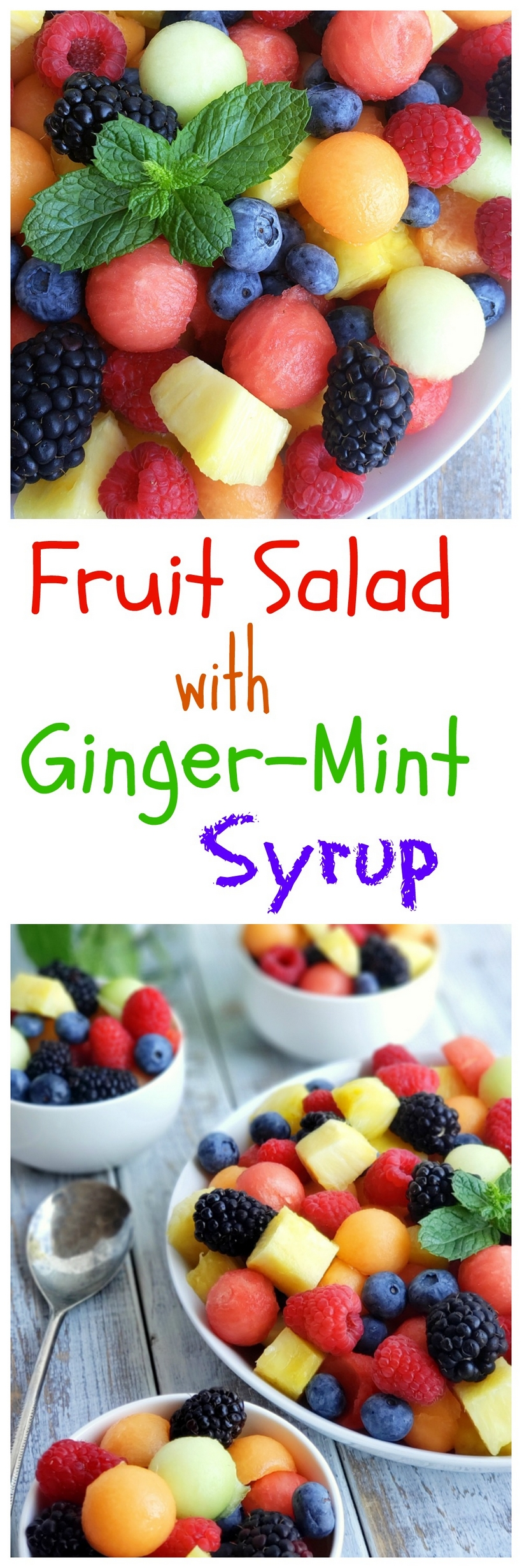Almost any fruit is excellent here - even peaches, nectarines and cherries would work well in this Fruit Salad with Ginger-Mint Syrup. Use what strikes you for dessert and serve with sugar cookies. The ginger-mint syrup is especially good when your fruit needs a little extra sweetness. #fruitsalad  via @cmpollak1