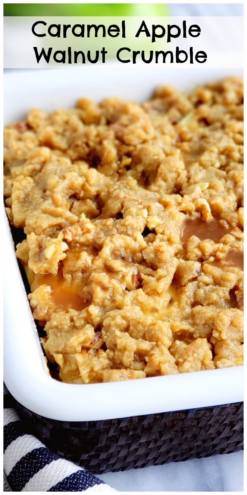 An easy apple crumble recipe you will not be able to resist! The crunchy walnut crumble topping with drizzled caramel makes this apple dessert and crumble recipe a winning combination. When I think of apple recipes, specifically apple desserts, a crumble always to mind. #noblepig #applecrumble #applecrumblerecipe #easyapplecrumble #crumbletopping #crumbletoppingrecipe #crumblerecipe #applerecipes #appledesserts #easyapplerecipes #dessertapplerecipes via @cmpollak1