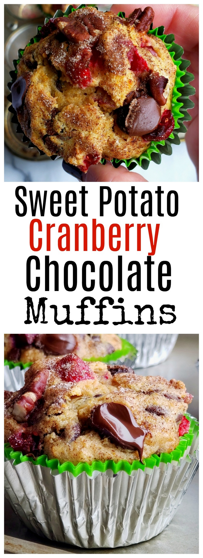 The ingredients are simple on their own, but together these Sweet Potato Cranberry-Chocolate Muffins are a delicious fall symphony. Each flavor compliments and enhances one another making these muffins one of the best tasting bites you'll enjoy this season. #sweetpotatoes #sweetpotatoesrecipes #sweetpotatomuffin #sweetpotatomuffins #sweetpotatomuffinsrecipe #freshcranberries #thanksgivingdessertforacrowd #thanksgivingdessert #easythanksgivingdessert #thanksgivingrecipe  via @cmpollak1