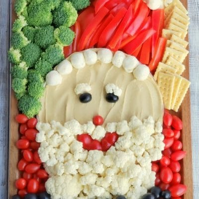 Vegetables made to depict Santa's Face.