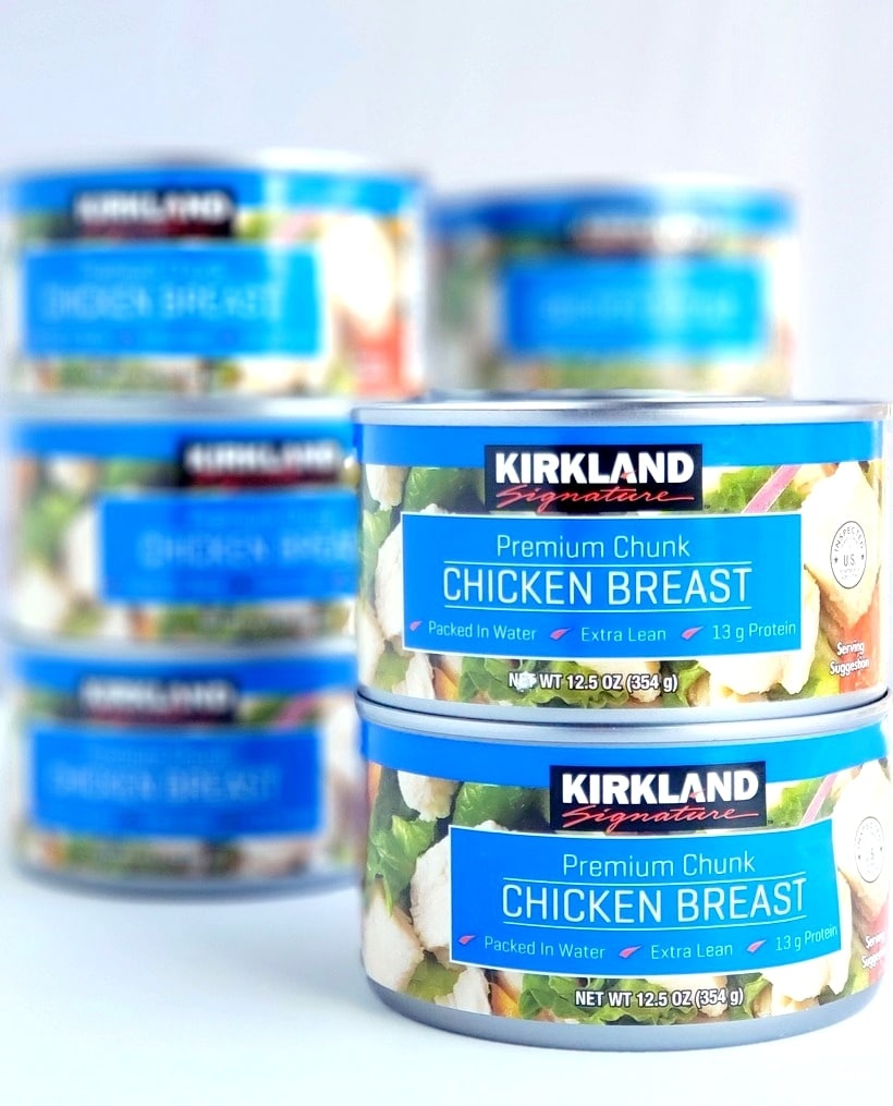Stacked cans of chicken.