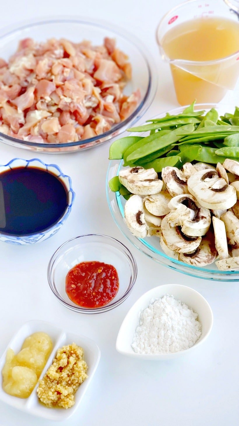 Ingredients to make chicken and snow pea stir-fry.