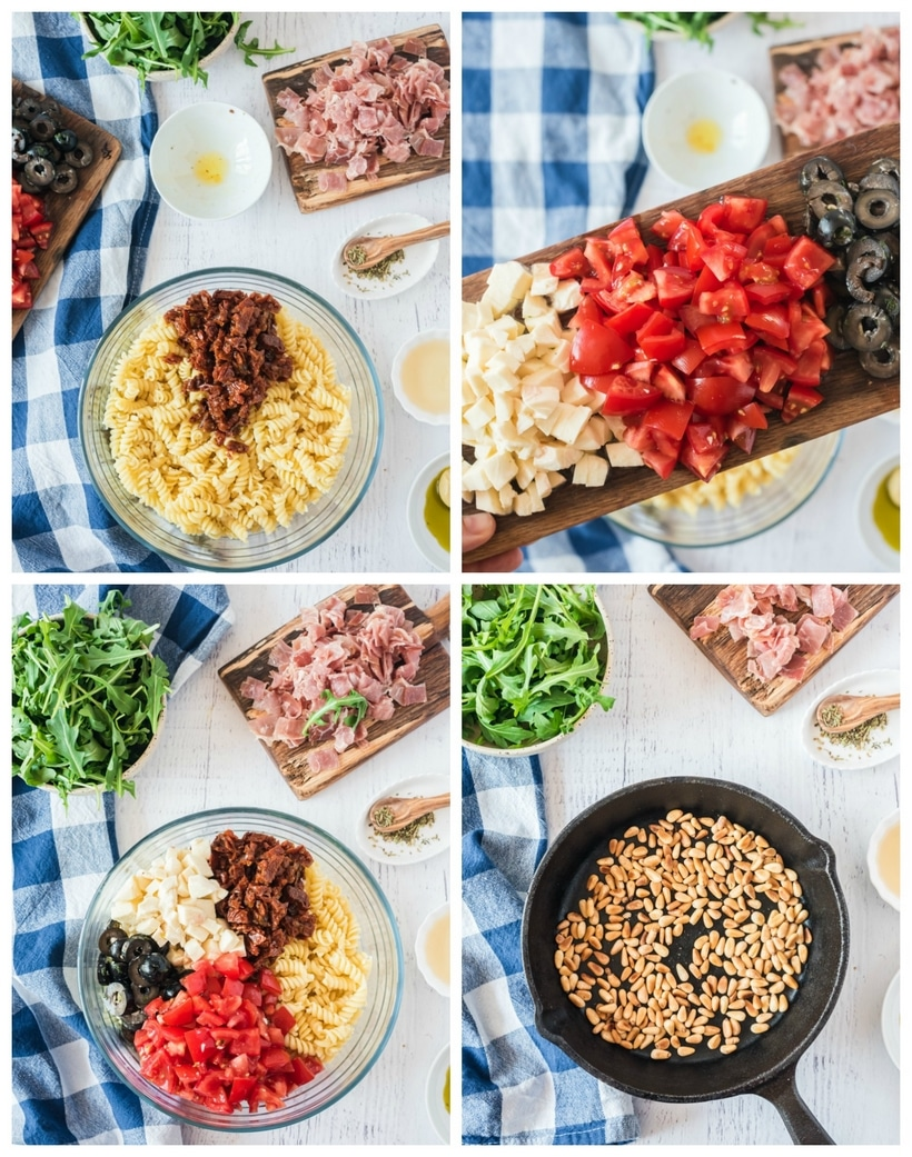 Four collage photo of various stages of building the pasta salad.