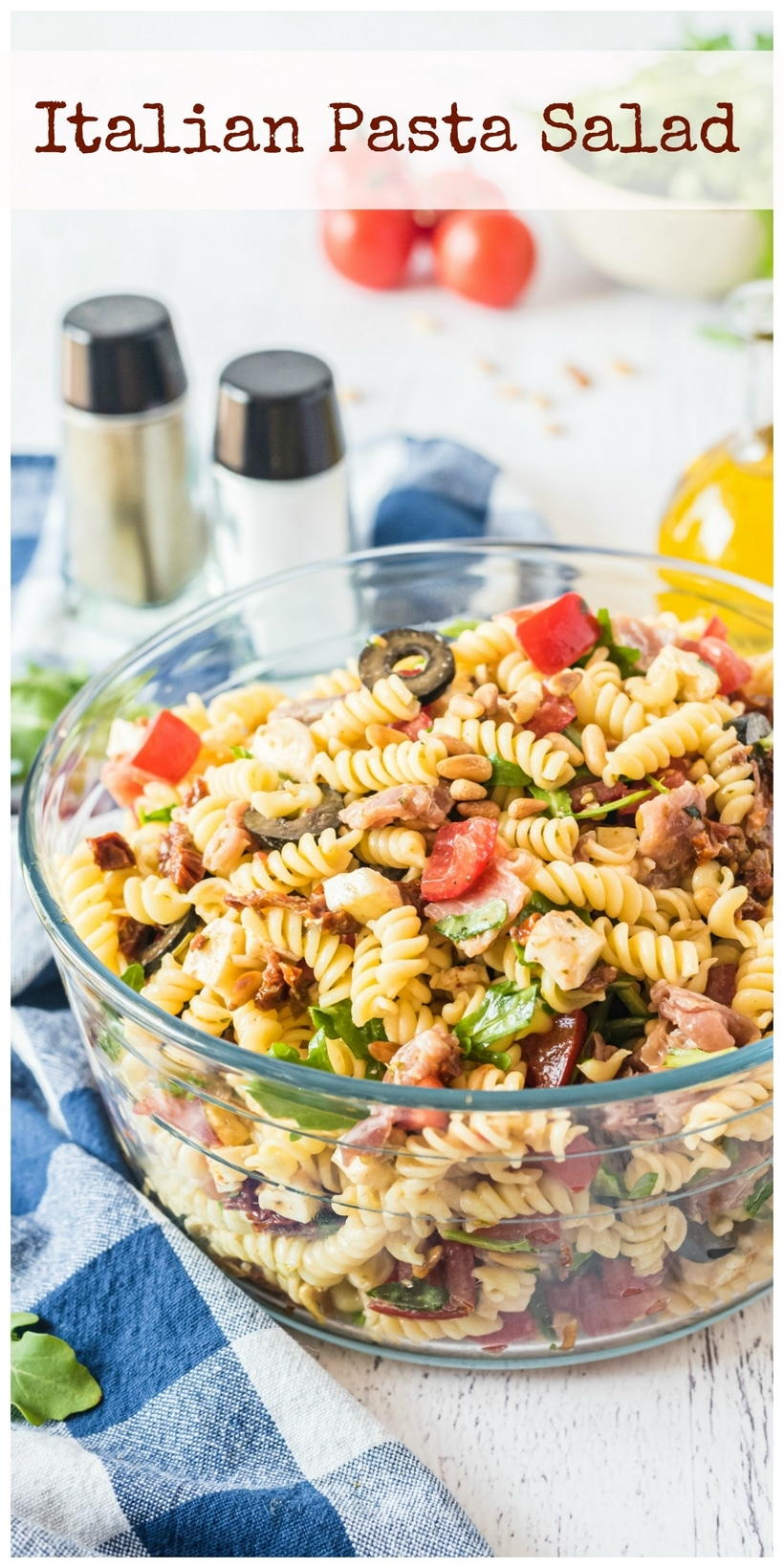 Text saying Italian Pasta Salad with pasta salad in the background