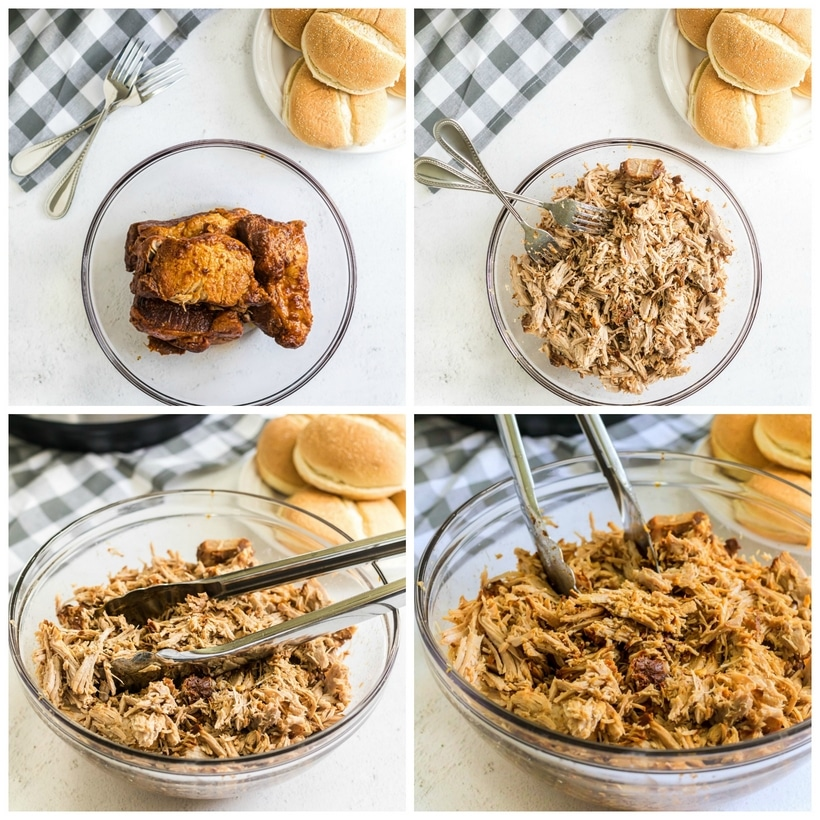 Vary stages of the pulled pork from whole to shredded.