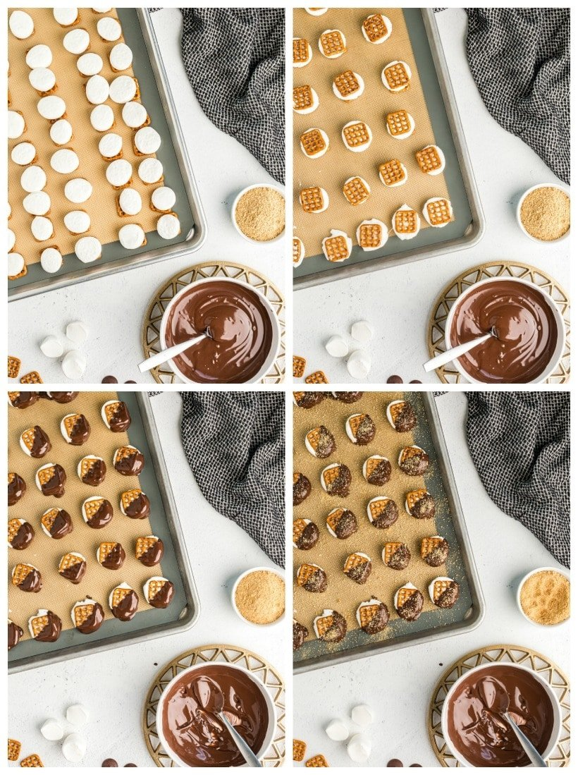 Collage of hot to photos on how to put the bites together.