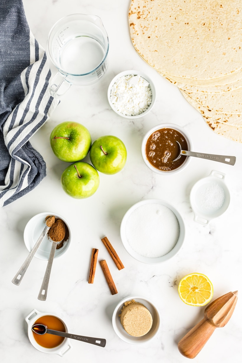 Ingredients for air fryer apple pie