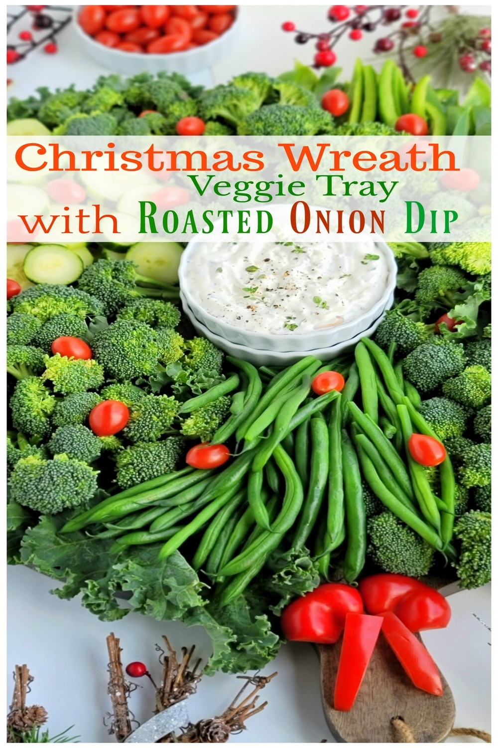 A simple Christmas Wreath Vegetable tray made from your favorite veggies and served with a tasty, addictive onion dip! via @cmpollak1