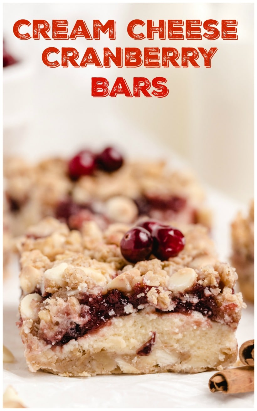 Cream cheese cranberry bars stacked