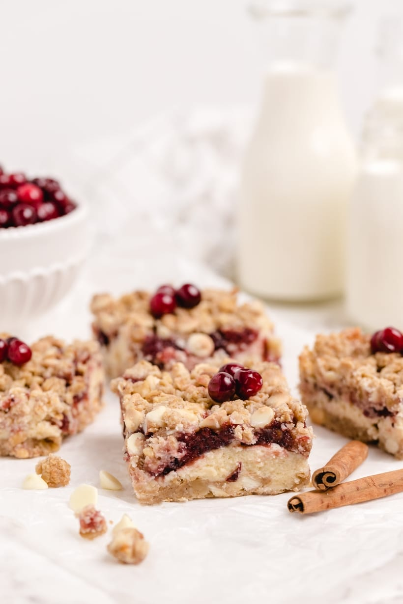 Cranberry cream cheese bars and milk