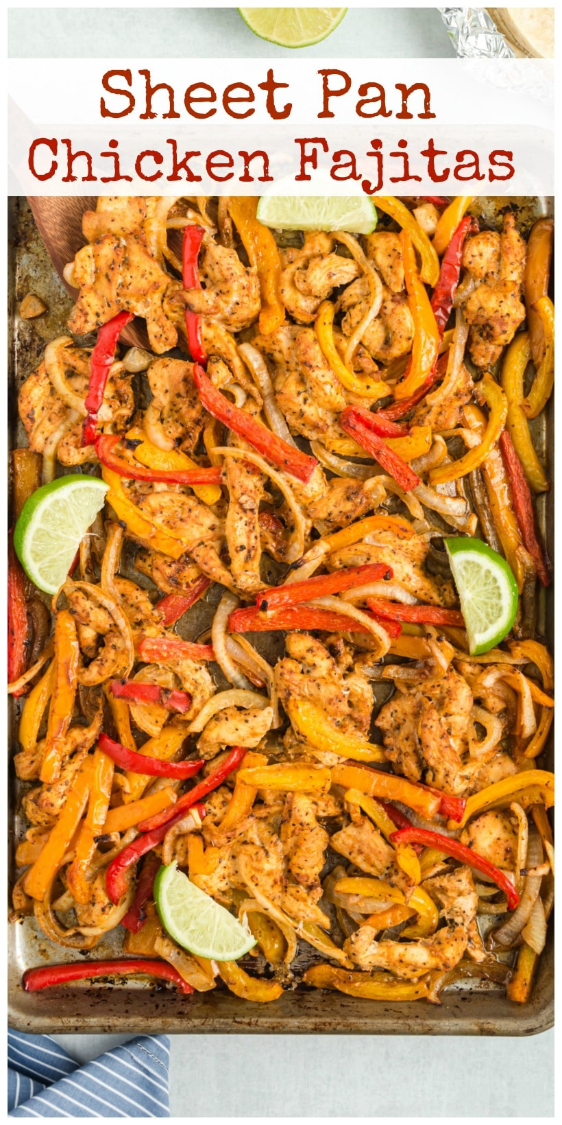Sheet Pan Fajitas were invented with weeknight meals in mind. Perfectly seasoned, tender chicken and crunchy veggies make this tasty meal one you'll revisit often. via @cmpollak1