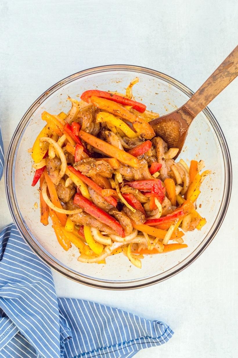 fajita ingredients in a bowl