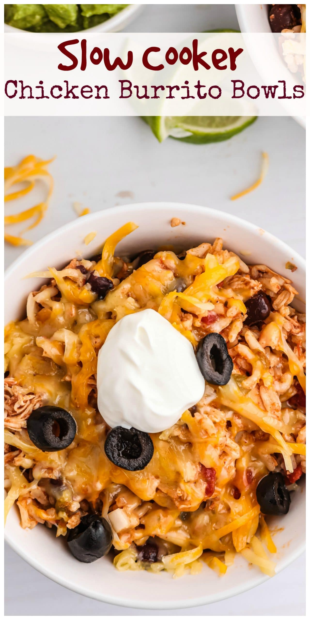 Slow Cooker Chicken Burrito Bowls - ten minutes of prep work rewards you later with a delicious and hearty dinner. Just dish yourself a bowl and garnish to your liking. via @cmpollak1