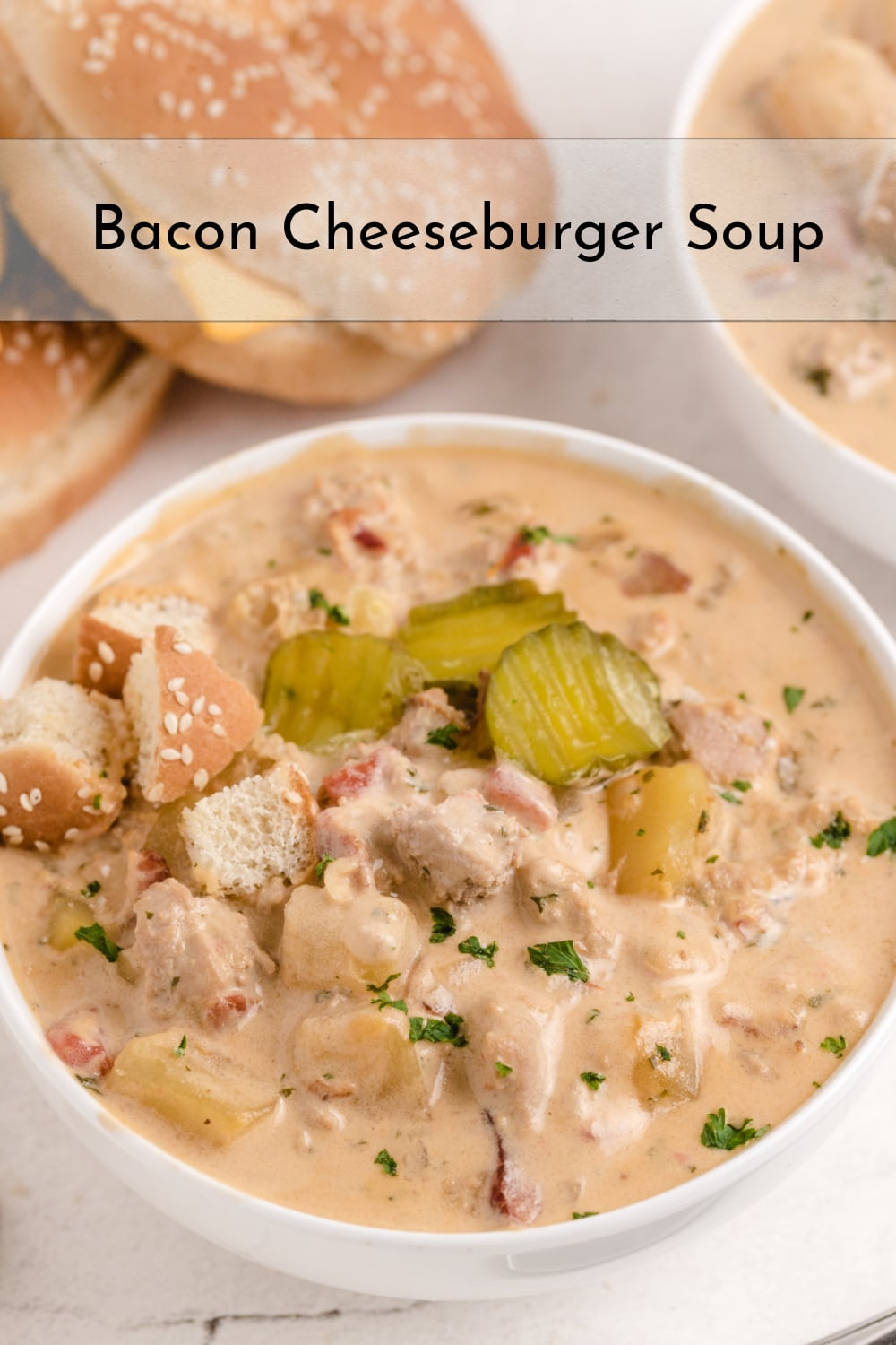 Bacon Cheeseburger Soup ~ creamy, cheesy and packed with bacon, potatoes and all the fixings of a regular cheeseburger. Comfort food at its finest. via @cmpollak1
