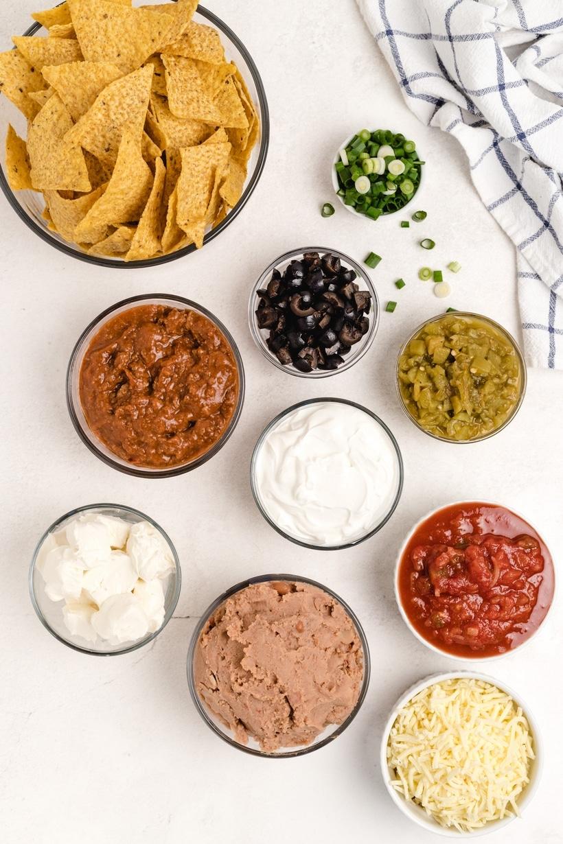 ingredients for taco dip