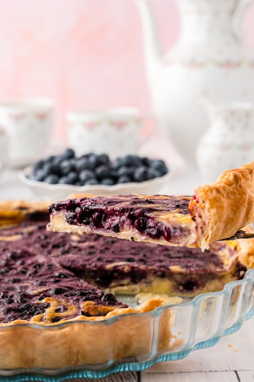 slice of blueberry tart
