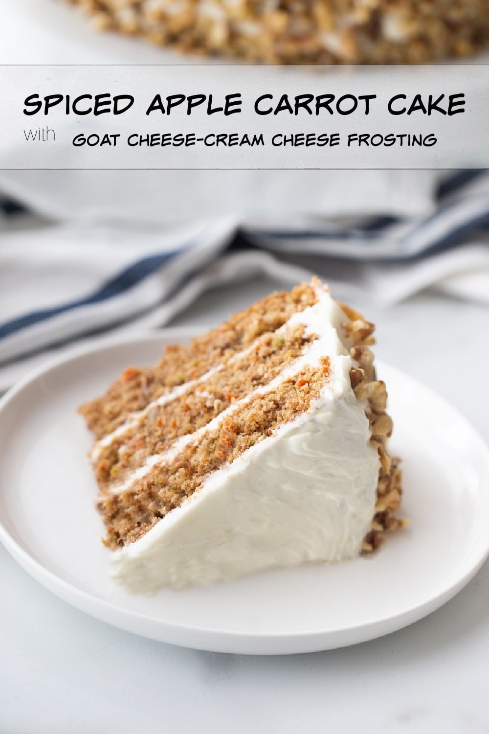 A spiced carrot cake that is not too sweet and packed full of shredded carrots and apples, making it the most tender and distinctly cake-like cake you might ever enjoy. The goat cheese-cream cheese frosting just makes it better. via @cmpollak1