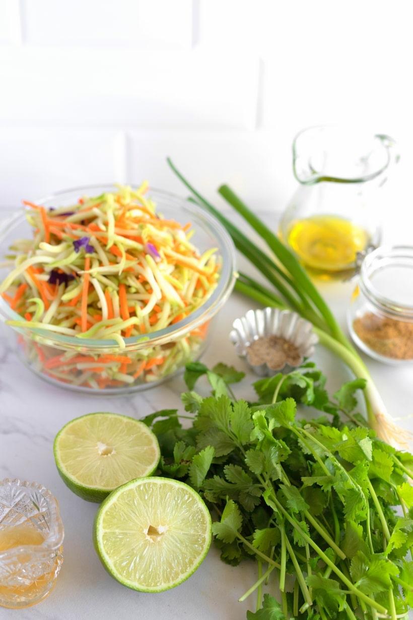 ingredients for broccoli slaw