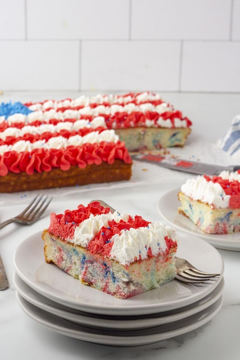 slices of flag cake