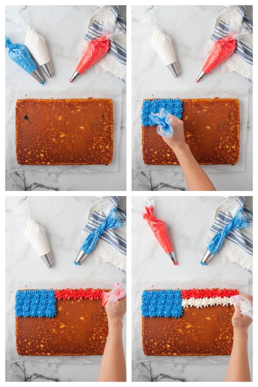 decorating a flag cake