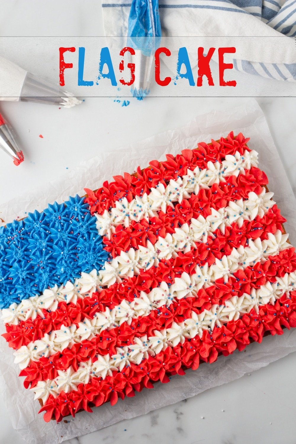 A charmingly festive flag cake with a delicious buttercream frosting. This festive cake will be the centerpiece of all your red, white and blue holidays. via @cmpollak1