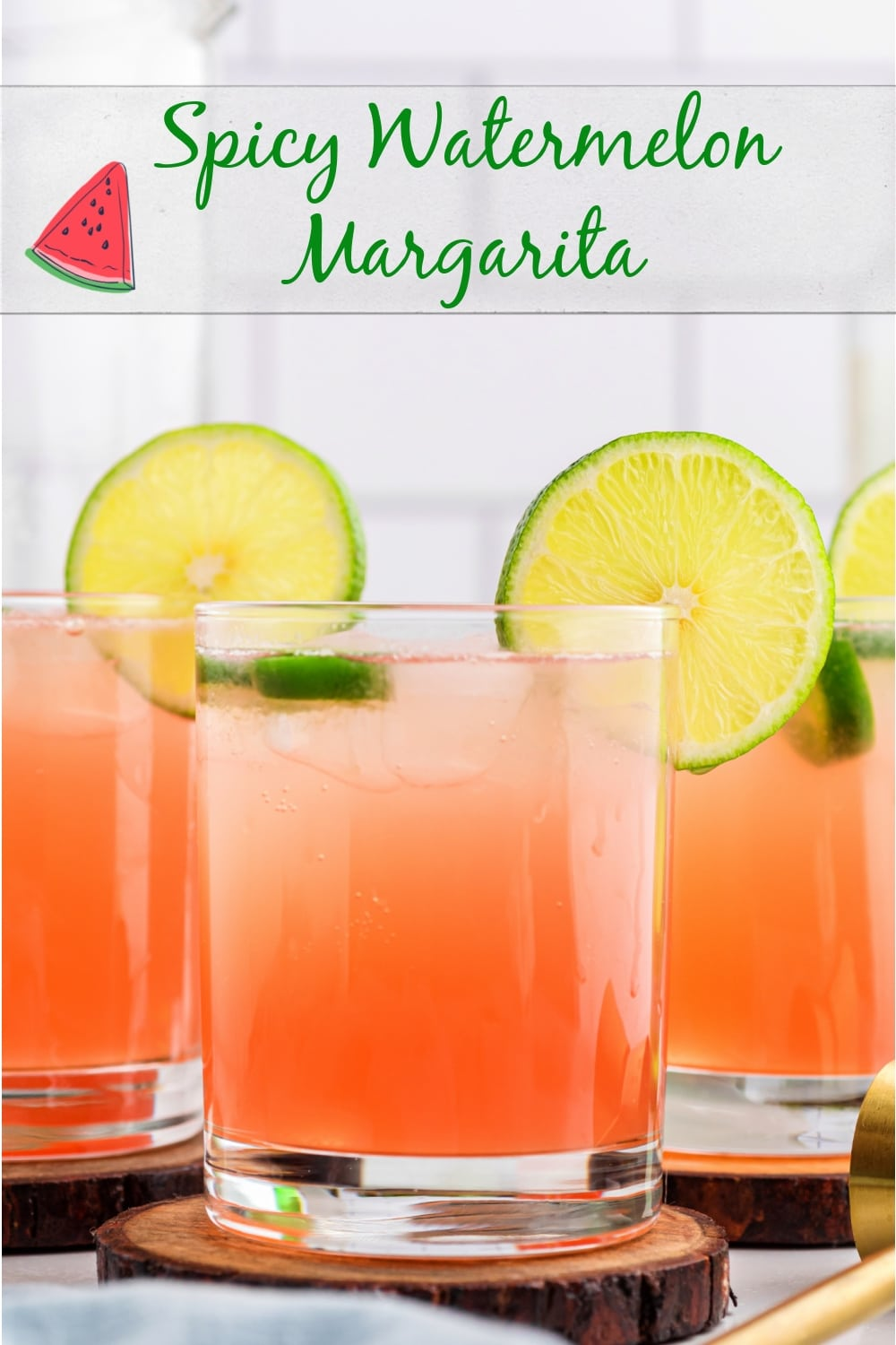Refreshing with a kick, this Spicy Watermelon Margarita is a zippy take on the classic and the best simple, summer cocktail. via @cmpollak1