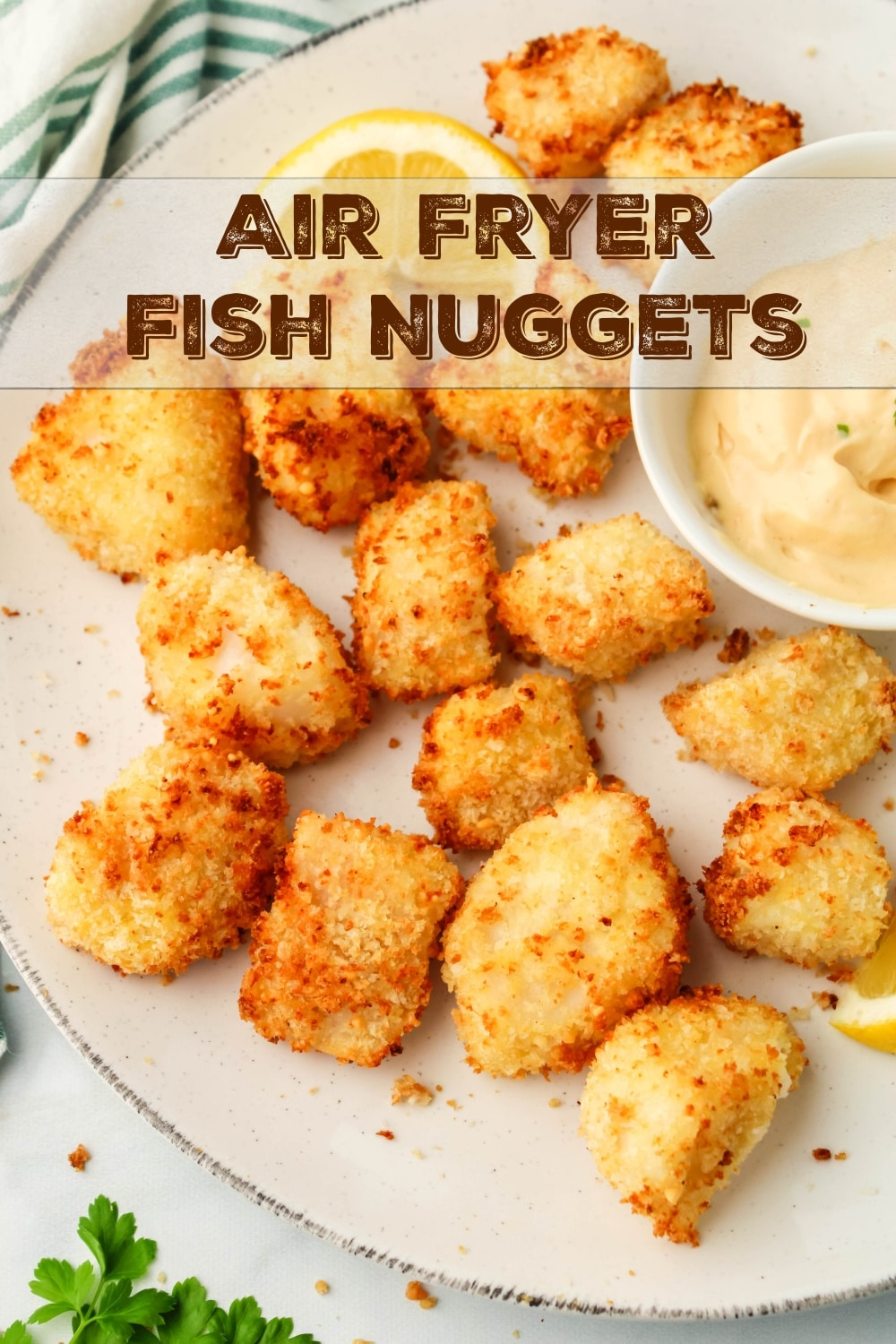 Deliciously flakey fish nuggets made right in your air fryer. These crunchy bites just might replace your kid's chicken nuggets all-together. via @cmpollak1