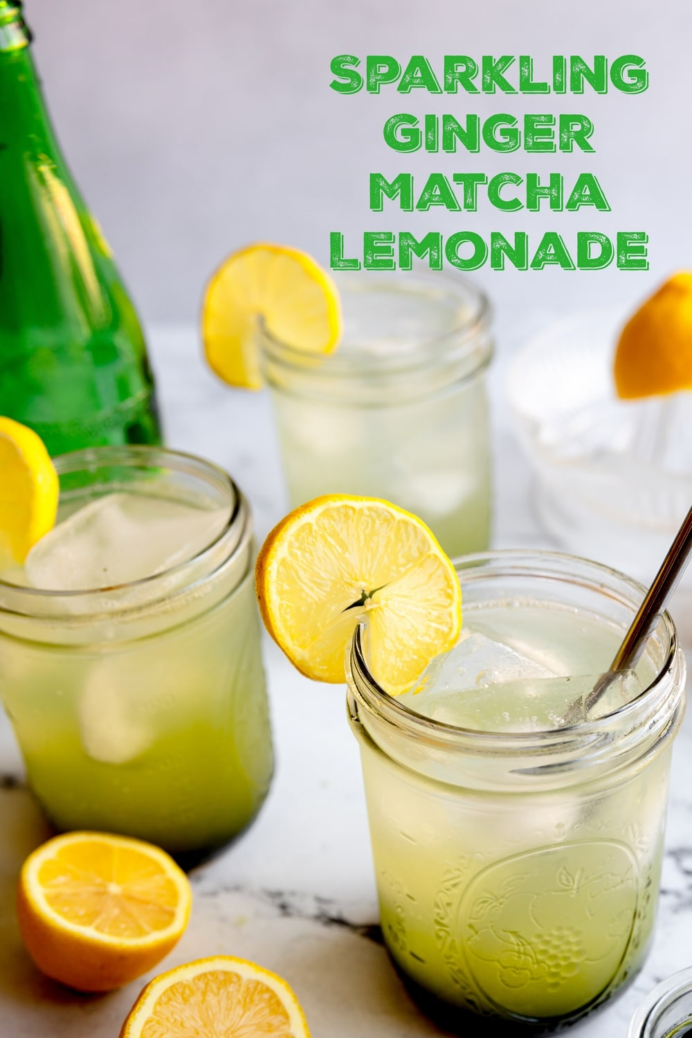 Sparkling Ginger Matcha Lemonade is the quintessential sip of summer! This deliciously, refreshing lemonade gives the Starbucks version a run for its money. via @cmpollak1