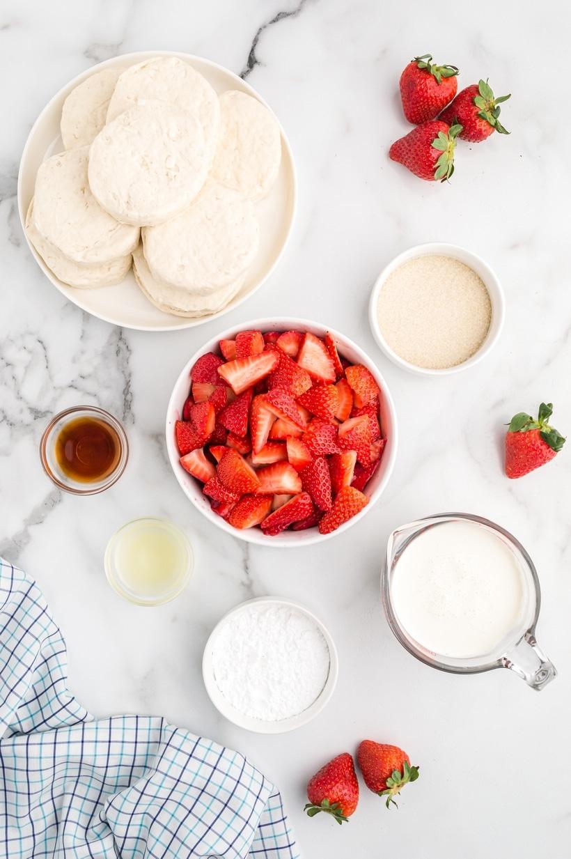 ingredients for strawberry shortcake
