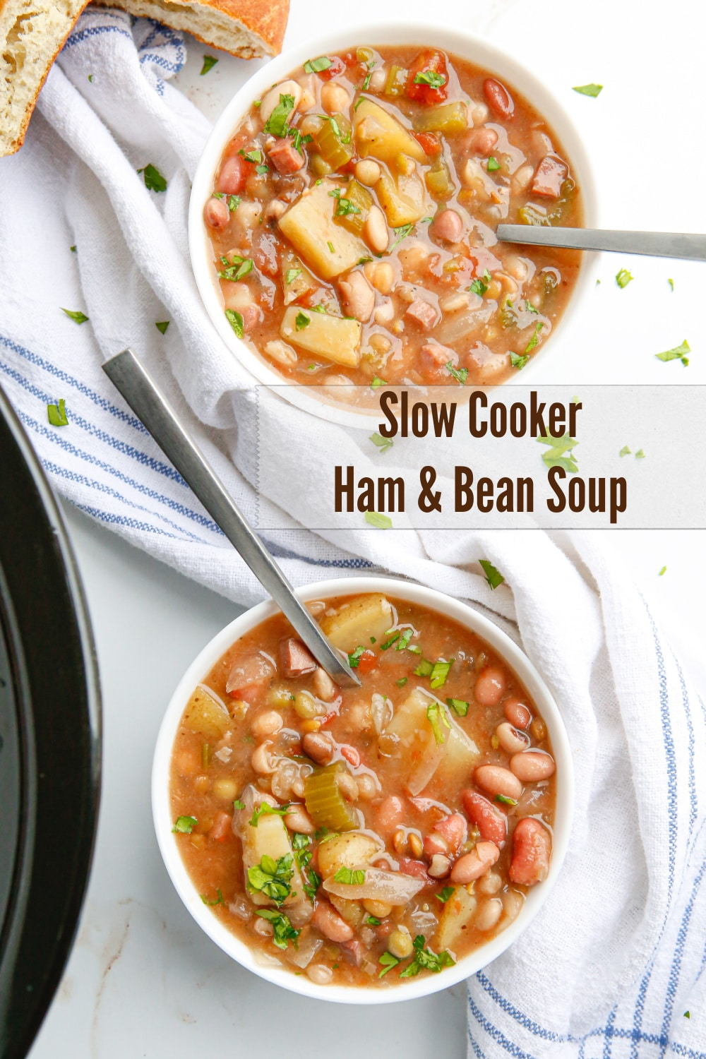 Delicious Slow Cooker Ham and Bean Soup, use up leftover ham or cube up a ham steak. The beans and potatoes give it a hearty texture and the seasonings add a slightly earthy flavor. Great with crusty bread. via @cmpollak1